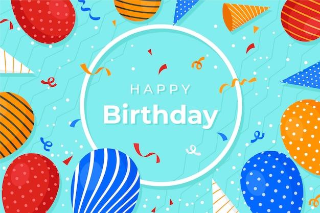 Verjaardag behang met ballonnen Gratis Vector
