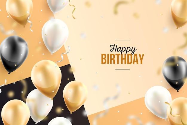 Verjaardag behang met realistische ballonnen Gratis Vector