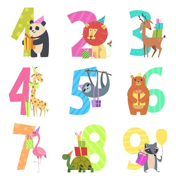 Verjaardag bestaat uit dieren. partij leuke uitnodiging voor kinderen viering tekens dieren van dieren in het wild dierentuin cartoon mascottes Premium Vector