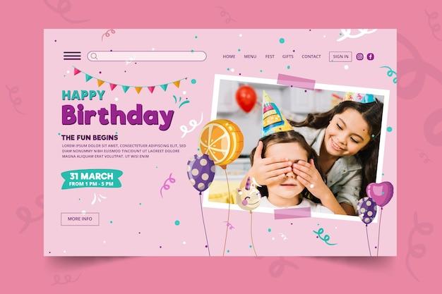 Verjaardag bestemmingspagina sjabloon voor kinderen Gratis Vector