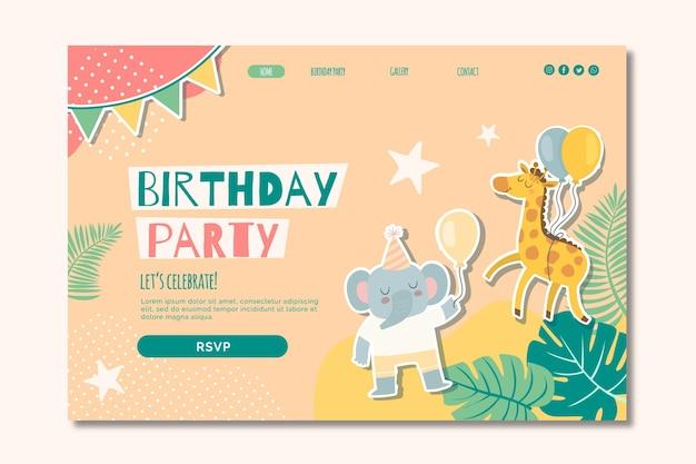 Verjaardag bestemmingspagina voor kinderen Premium Vector