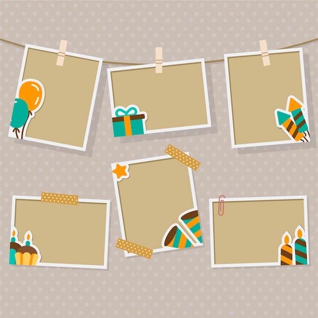 Verjaardag collage frame collectie in plat ontwerp Gratis Vector