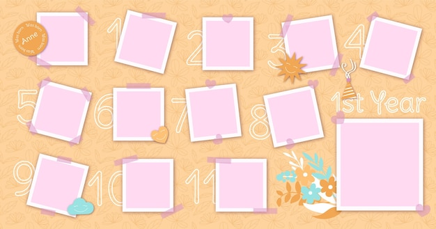 Verjaardag collage frame pack plat ontwerp Gratis Vector