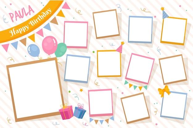 Verjaardag collage frames-collectie Gratis Vector