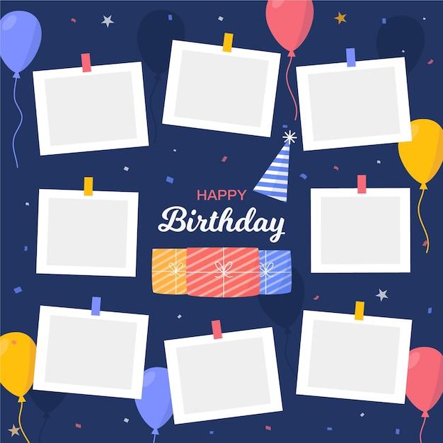 Verjaardag collage frames instellen Gratis Vector