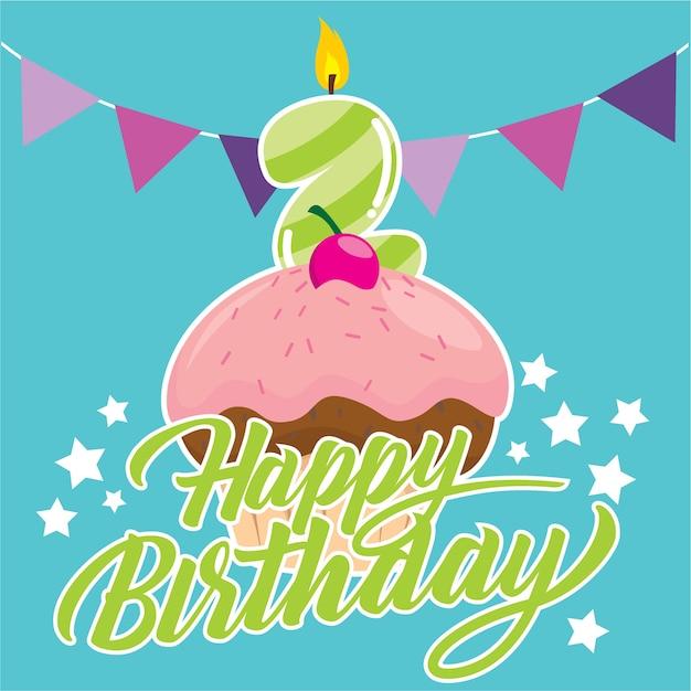 Verjaardag Cupcake Voor Twee Jaar Oude Kinderen Vector Premium