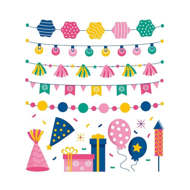 Verjaardag decoratie collectie Gratis Vector