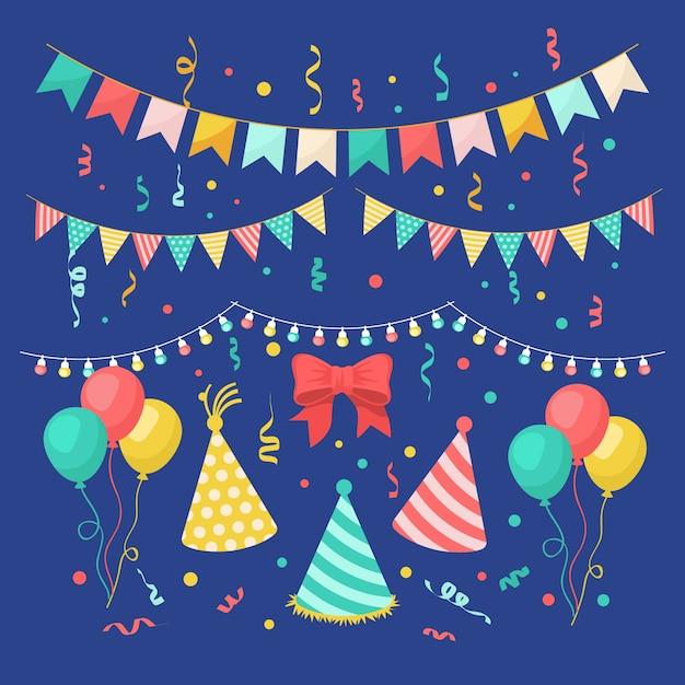 Verjaardag decoratie met hoeden en ballonnen Gratis Vector
