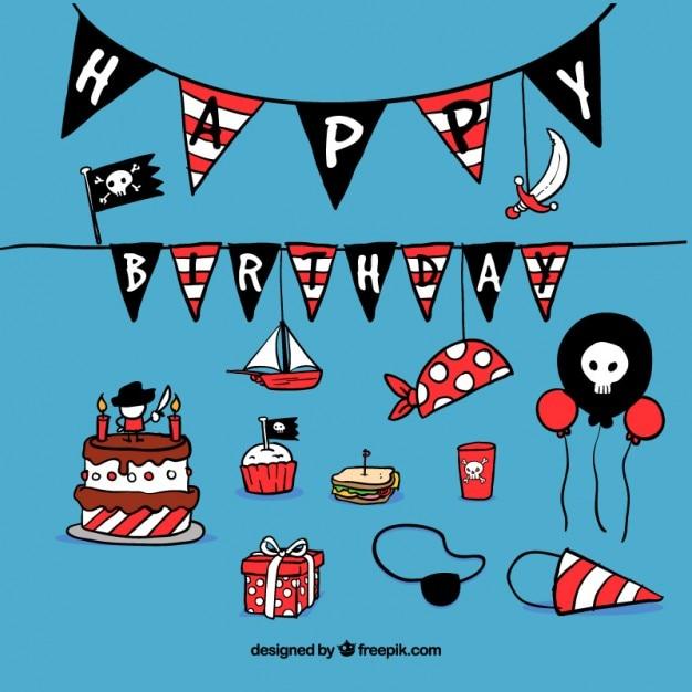 Verjaardag Decoratie Met Piraten Onderwerp Vector Gratis Download