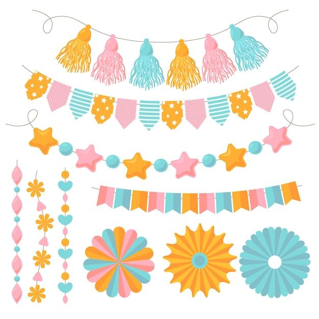 Verjaardag decoratiepakket Gratis Vector