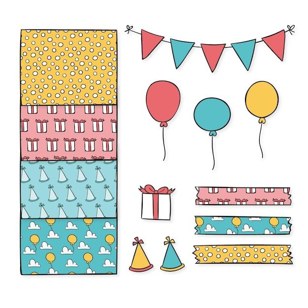 Verjaardag decoratieve plakboek elementen collectie Premium Vector