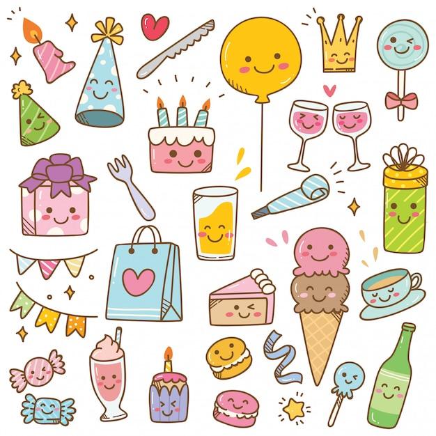 Verjaardag doodle in kawaii stijl vectorillustratie Premium Vector