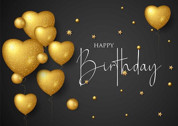 Verjaardag elegante wenskaart met gouden ballonnen en vallende confetti Premium Vector