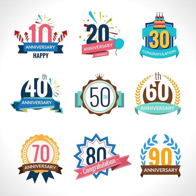 Verjaardag emblemen set Gratis Vector