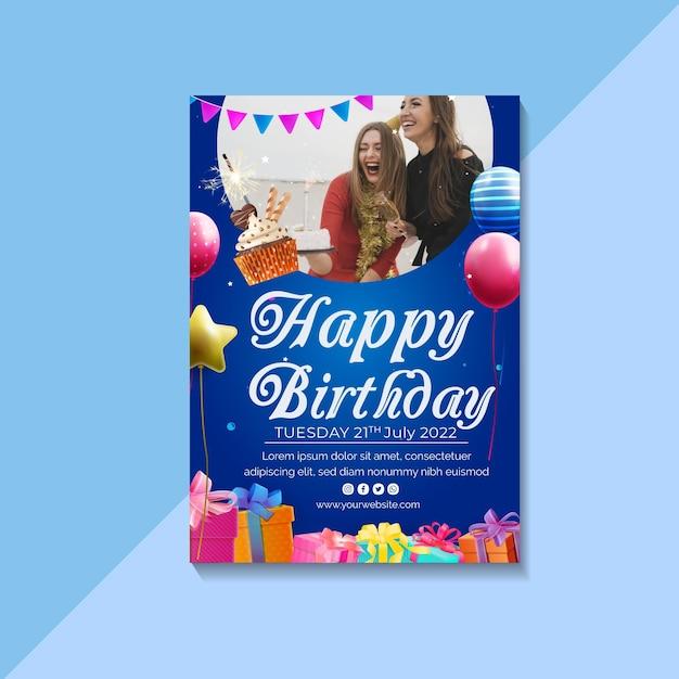 Verjaardag folder sjabloon Premium Vector