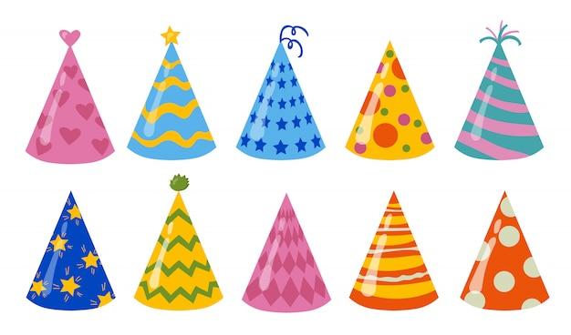 Verjaardag hoeden set Gratis Vector