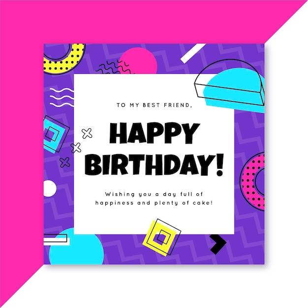 Verjaardag instagram postsjabloon Gratis Vector