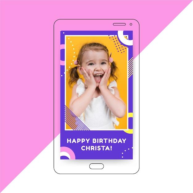 Verjaardag instagram verhaalsjabloon Gratis Vector