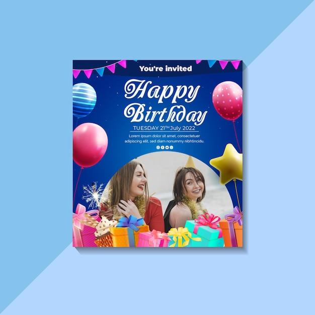 Verjaardag kaartsjabloon Gratis Vector