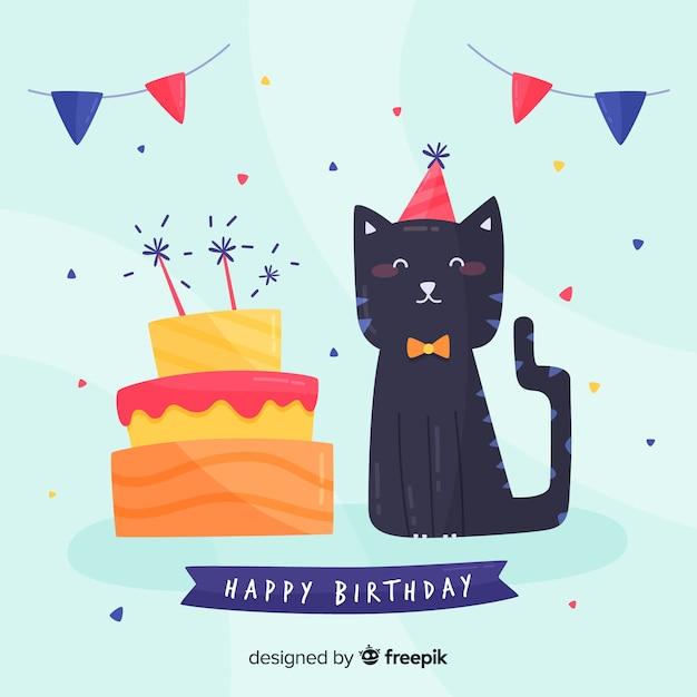 Verjaardag Kat Achtergrond Vector Gratis Download