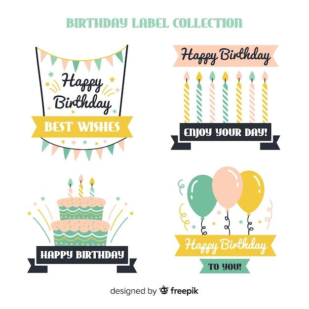 Verjaardag label-collectie Gratis Vector