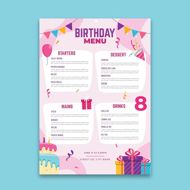 Verjaardag menu concept Premium Vector
