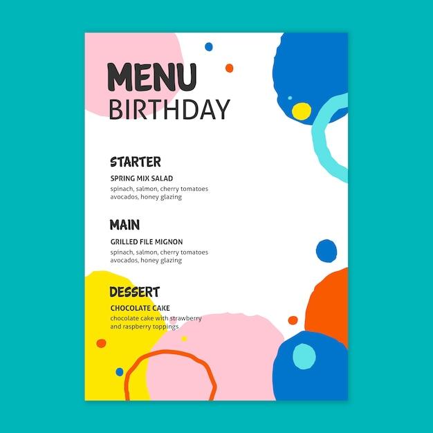 Verjaardag menu concept Gratis Vector
