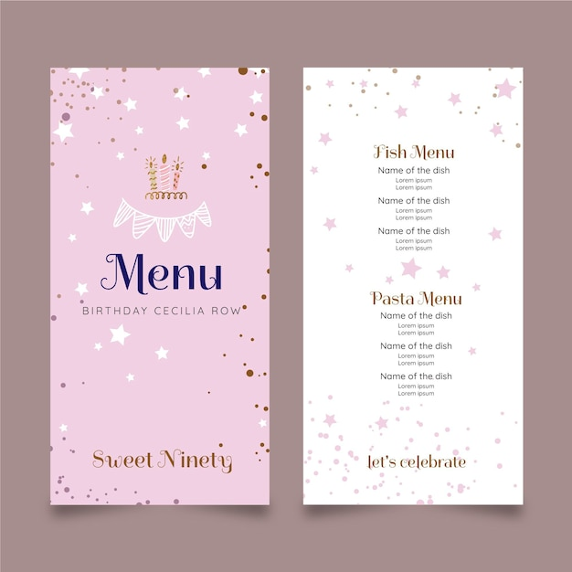 Verjaardag menu sjabloonontwerp Gratis Vector