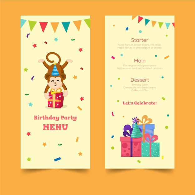 Verjaardag menusjabloon voor kinderen Gratis Vector
