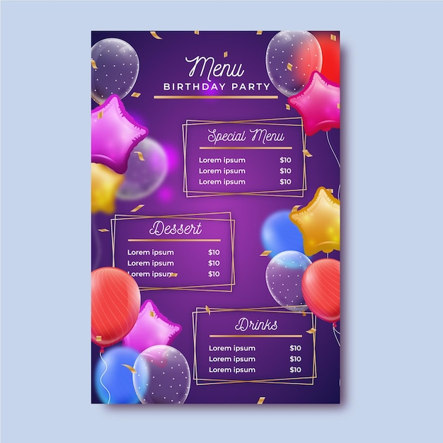 Verjaardag menusjabloon Premium Vector