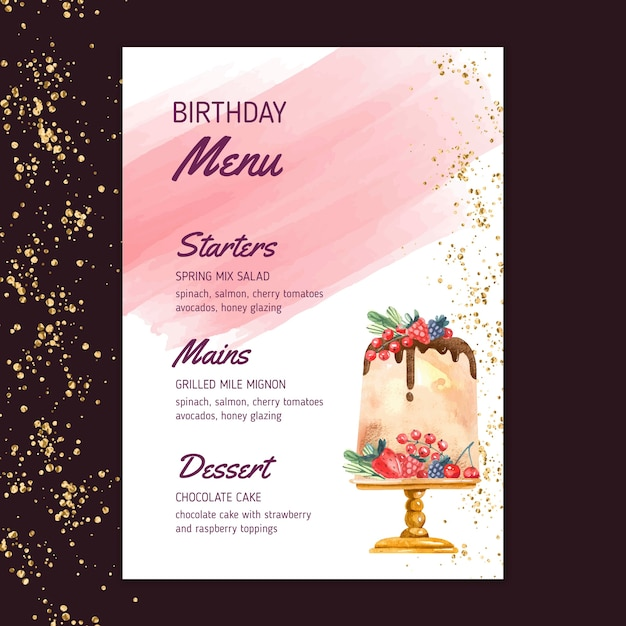 Verjaardag menusjabloon Gratis Vector