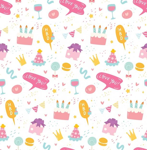 Verjaardag naadloze achtergrond in kawaii stijl Premium Vector
