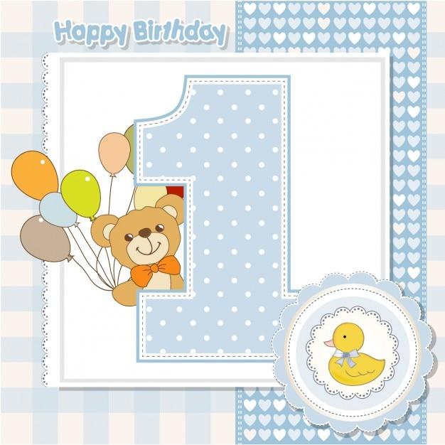Verjaardag nummer 1 kaart Gratis Vector