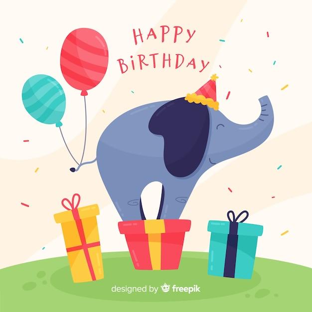 Verjaardag Olifant Achtergrond Vector Gratis Download