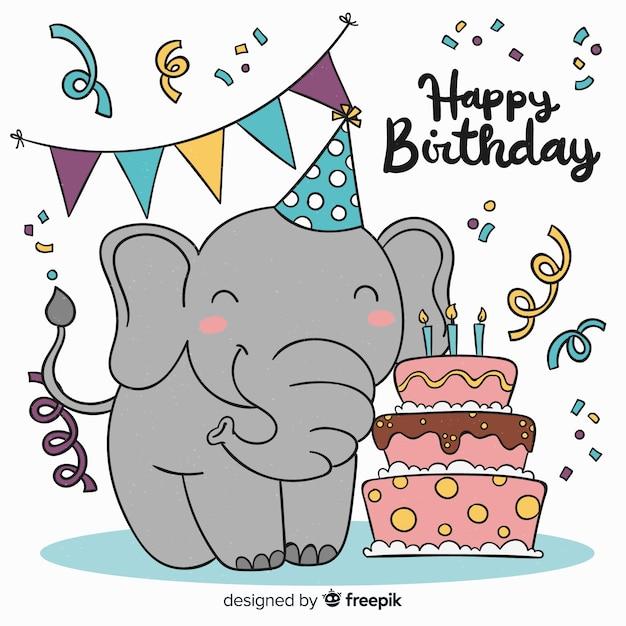 Verjaardag Olifant Vector Gratis Download