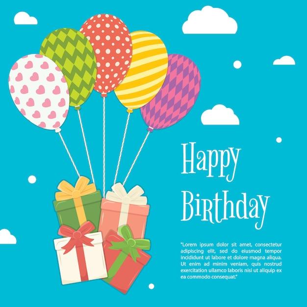 Verjaardag In Hemel.Verjaardag Op De Achtergrond Van De Hemel Premium Vector