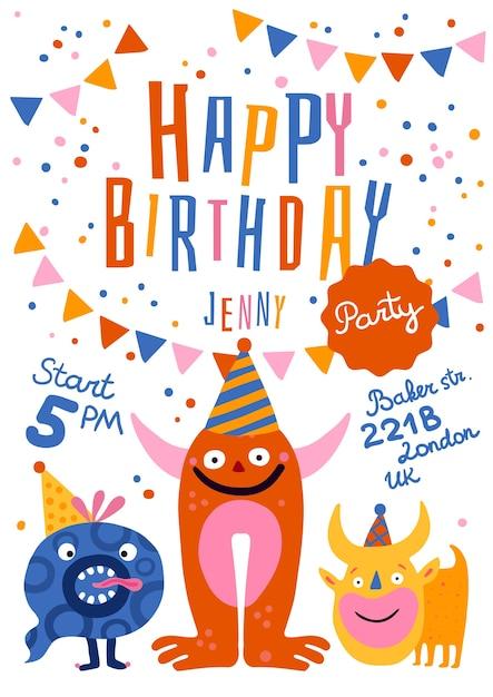 Verjaardag partij aankondiging uitnodiging poster met grappige monsters in kegel hoeden tijdadres feestelijke decoraties illustratie Gratis Vector