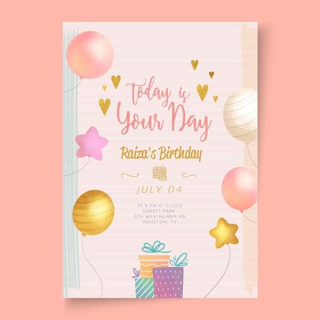 Verjaardag partij kaartsjabloon Gratis Vector