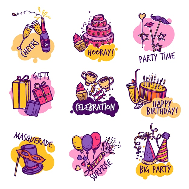 Verjaardag partij kleurrijke emblemen etiketten instellen Gratis Vector