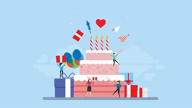 Verjaardag partij viering kleine mensen karakter illustratie Premium Vector