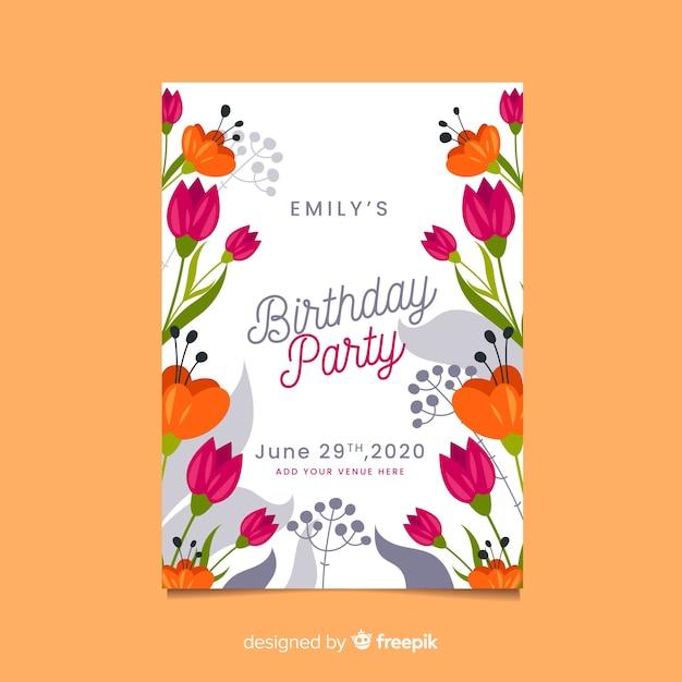 Verjaardag partij viering sjabloon uitnodiging Gratis Vector