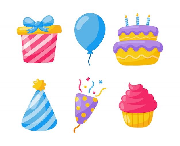 Verjaardag pictogrammen. feestviering. carnaval feestelijke artikelen op wit wordt geïsoleerd. Premium Vector