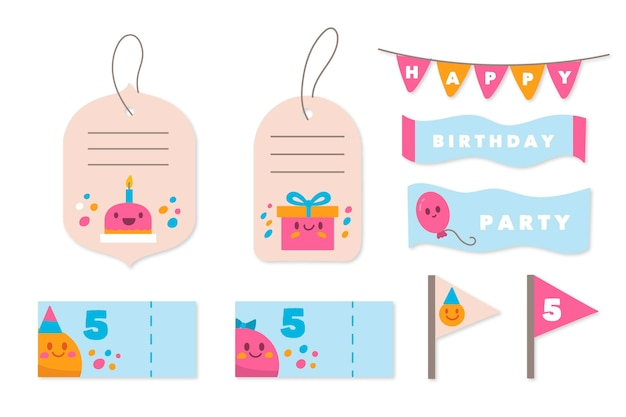 Verjaardag plakboek set Gratis Vector