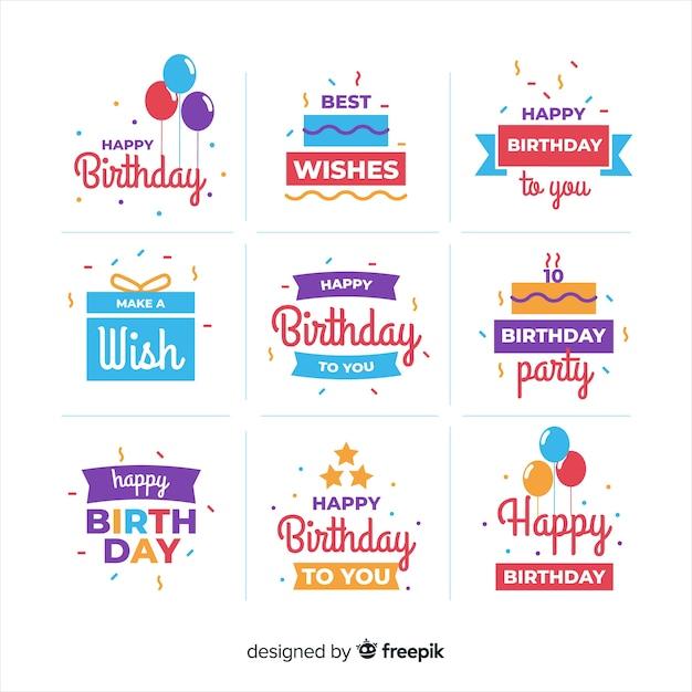 Verjaardag platte labelverzameling Gratis Vector