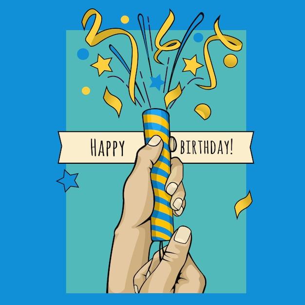 Verjaardag poster handen poppers met confetti Premium Vector