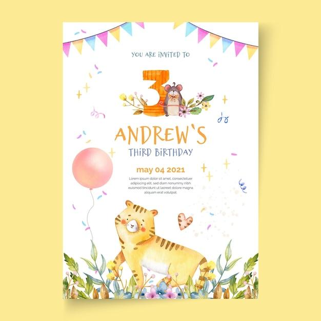 Verjaardag poster sjabloon voor kinderen Gratis Vector