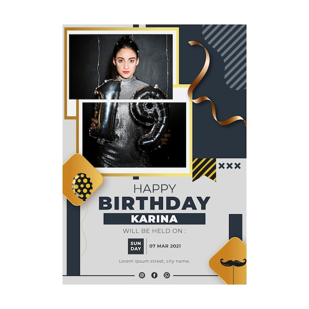 Verjaardag poster sjabloon Gratis Vector