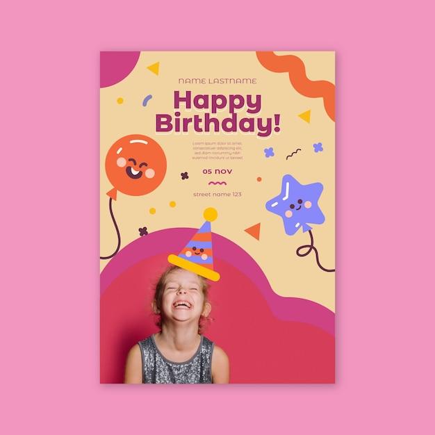 Verjaardag poster voor kinderen Gratis Vector
