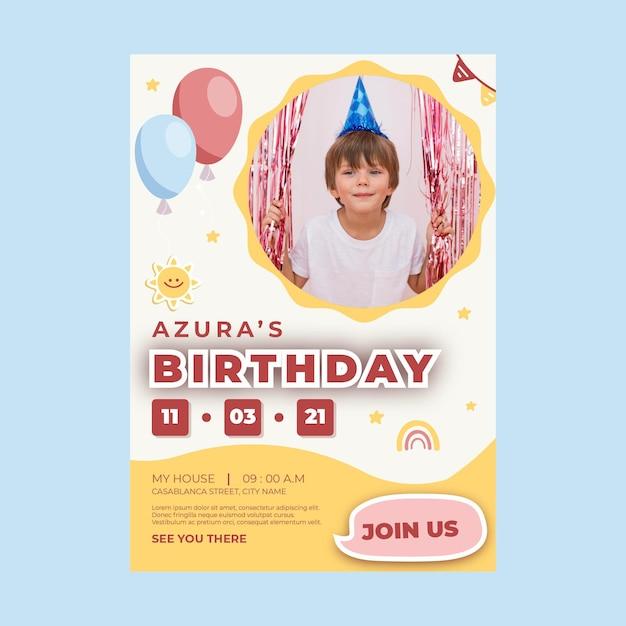 Verjaardag poster voor kinderen Premium Vector