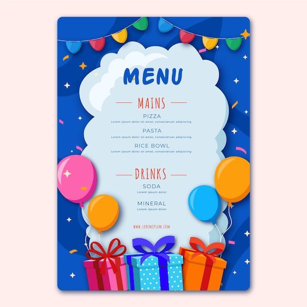 Verjaardag restaurant menusjabloon met illustraties Premium Vector